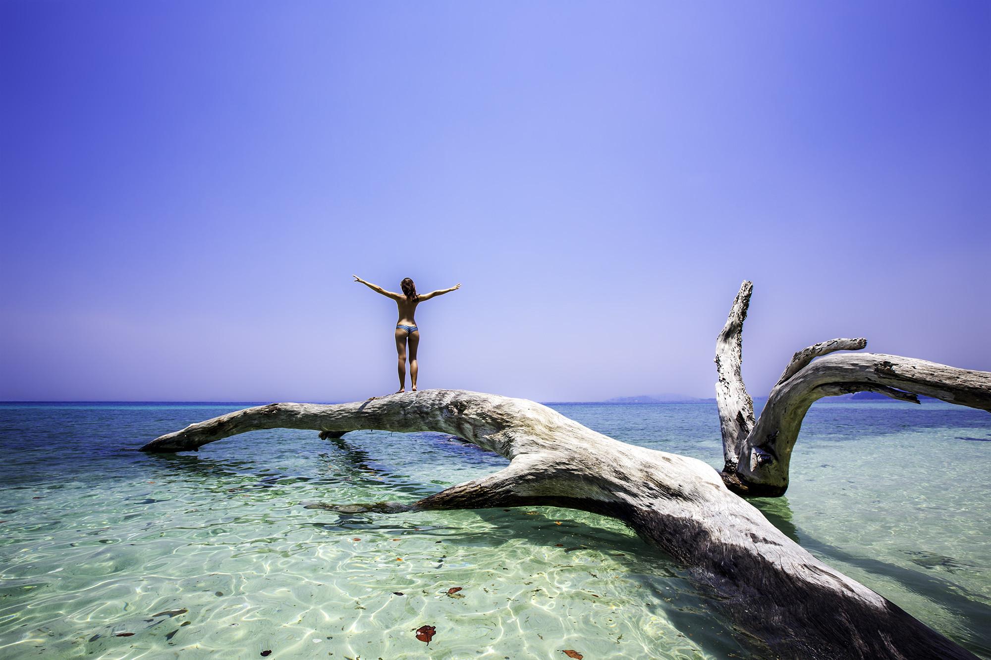 обои море, коряга, девушка, пейзаж картинки фото
