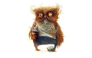 Бесплатные фото не выспавшаяся сова,глаза сонные,перья торчком,майка,кофе,будильник,фон белый