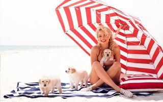 Бесплатные фото девушка,блондинка,щенки,зонтик,пляж,отдых,улыбка