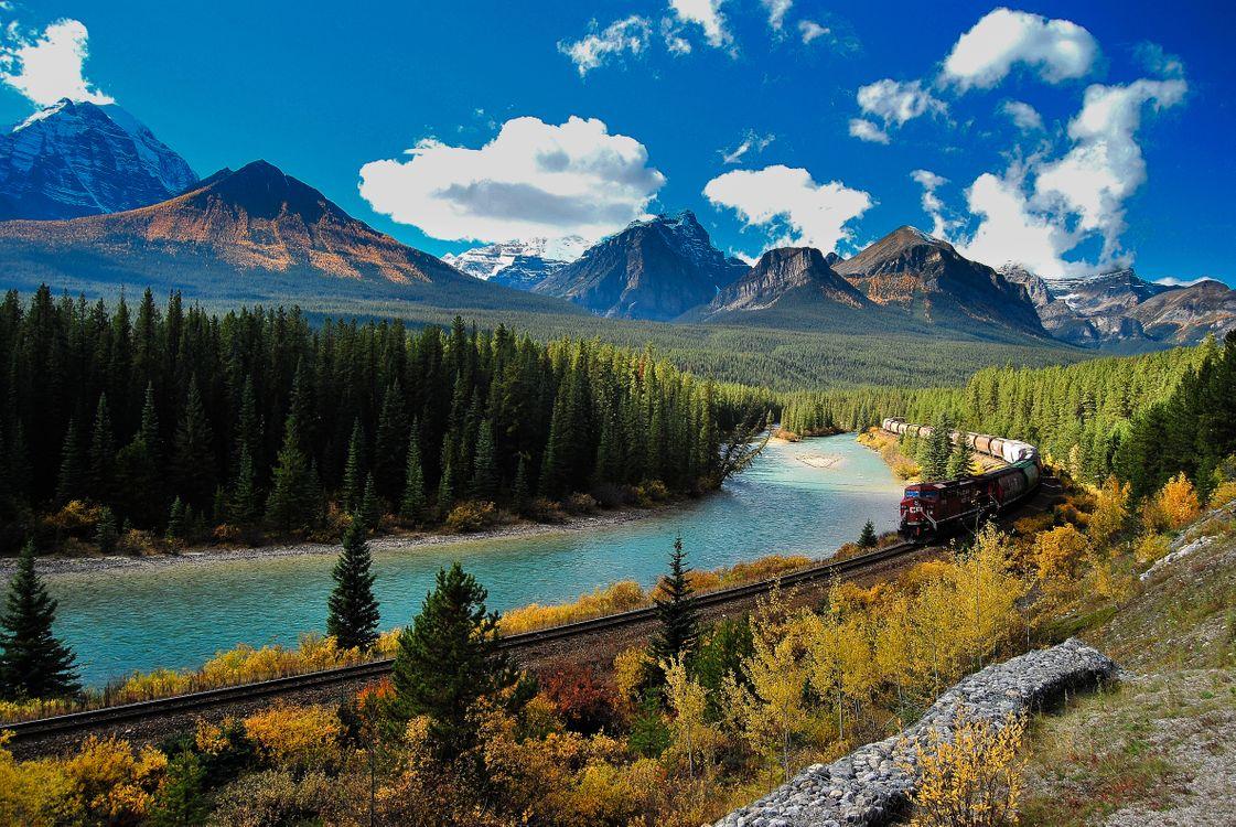 Фото бесплатно Боу Ривер, Национальный парк Банф Канадские Скалистые горы, Канада - на рабочий стол