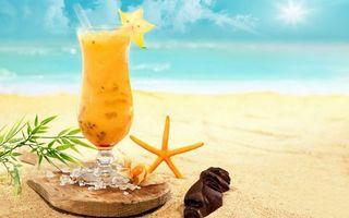 Бесплатные фото бокал,коктейль,желтый,доска,лед,морская звезда,растение