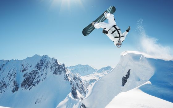 Photo free snowboard, jump, flight