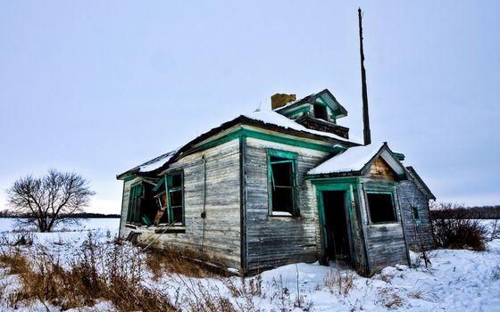 Фото бесплатно дом заброшенный, развалины, снег