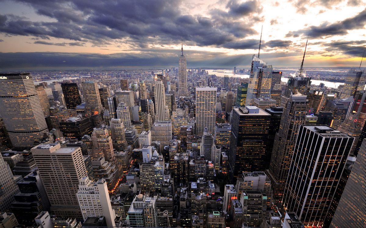 Фото бесплатно небо, небоскребы, огни - на рабочий стол