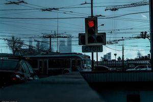 Фото бесплатно ART IRBIS PRODUCTION, Москва, светофор, дорога, машины, туман, снег, Khusen Rustamov, Хусен Рустамов, xusenru, Природа, Россия, Город, мрак