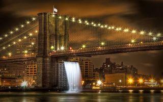 Бесплатные фото ночь,река,мост,конструкция,водопад,подсветка,огни