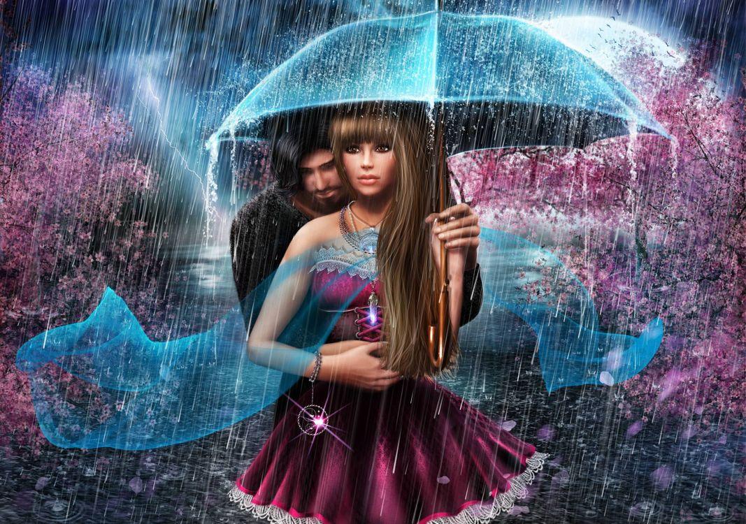 Фото бесплатно весна, дождь, пара, девушка, парень, любовь, art, рендеринг
