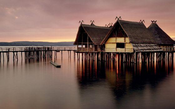 Фото бесплатно озеро, сваи, мостики