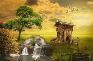 Бесплатные фото поле,река,водопад,деревья,лебеди,домик,фантазия