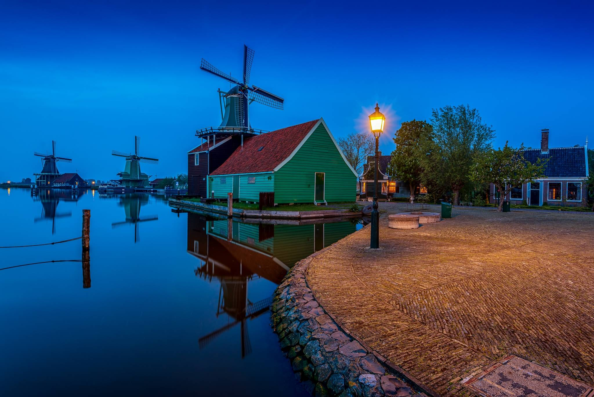 деревня Заансе Сханс, Нидерланды, закат