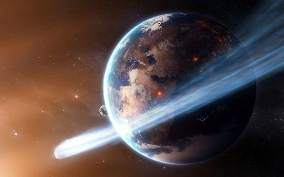 Фото бесплатно планеты, метеорит, комета