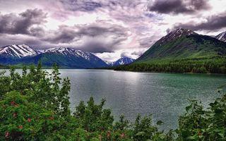 Бесплатные фото горы,река,холмы,снег,небо,тучи