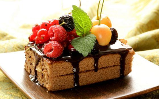 Фото бесплатно пирожное, бисквит, ягода