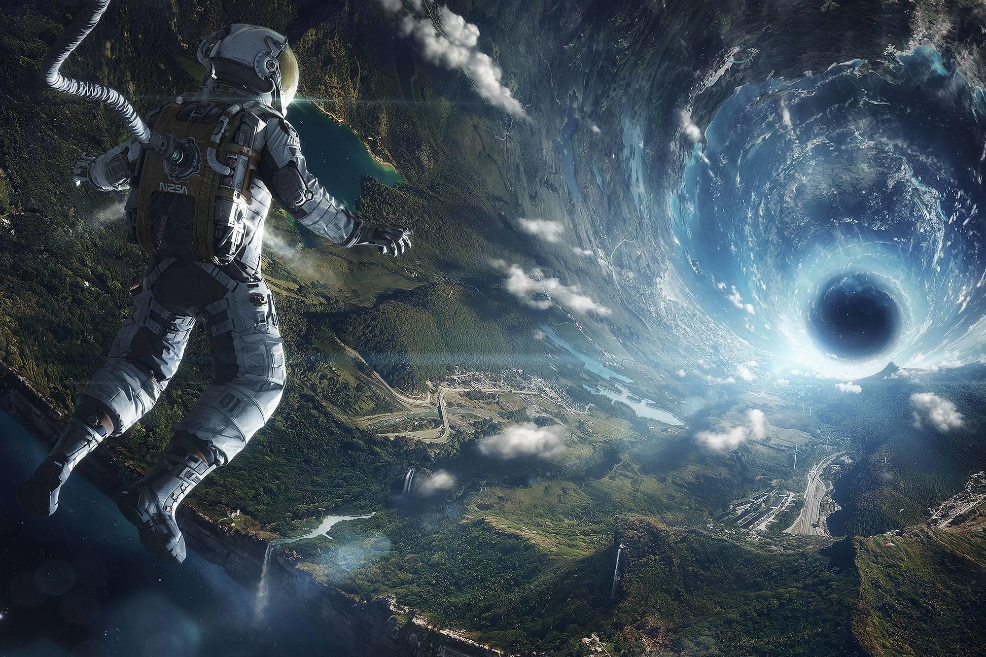 обои космос, планета, космонавт, чёрная дыра картинки фото