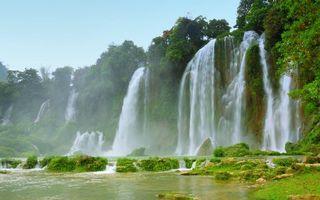 Бесплатные фото тропики,река,водопады,брызги,камни,растительность