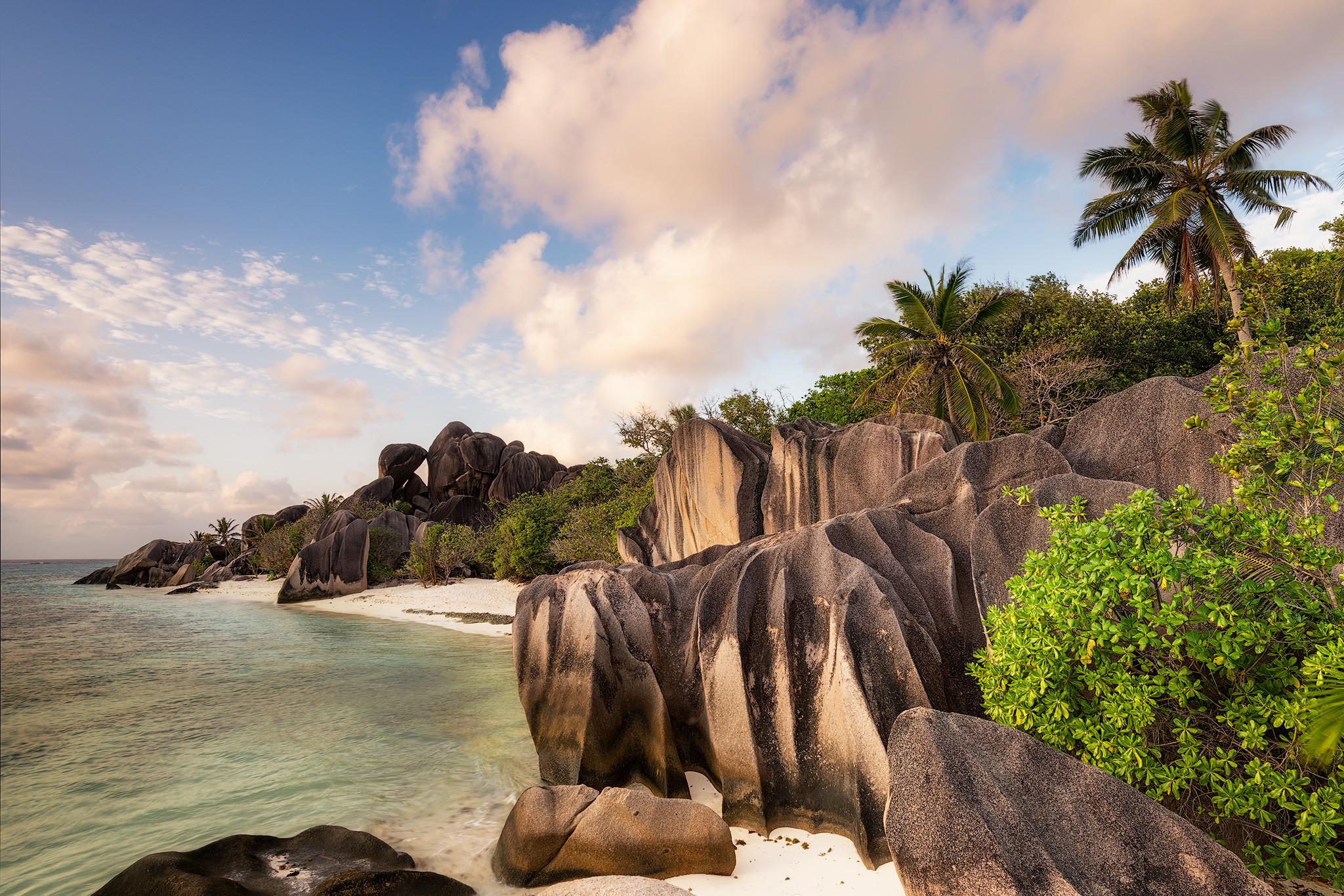 обои La Digue Island, Seychelles, море, скалы картинки фото