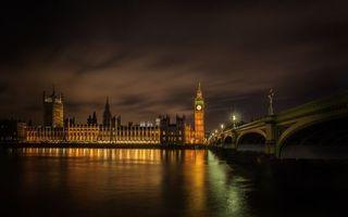 Фото бесплатно Темза, Вестминстерский дворец, ночь