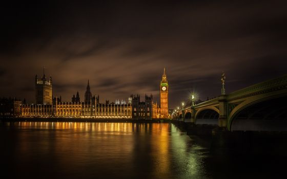 Photo free Thames, Westminster Palace, night