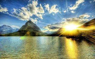 Бесплатные фото море,побережье,горы,солнце,лучи,небо,облака