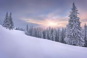 Бесплатные фото закат,зима,снег,горы,деревья,домик,пейзаж