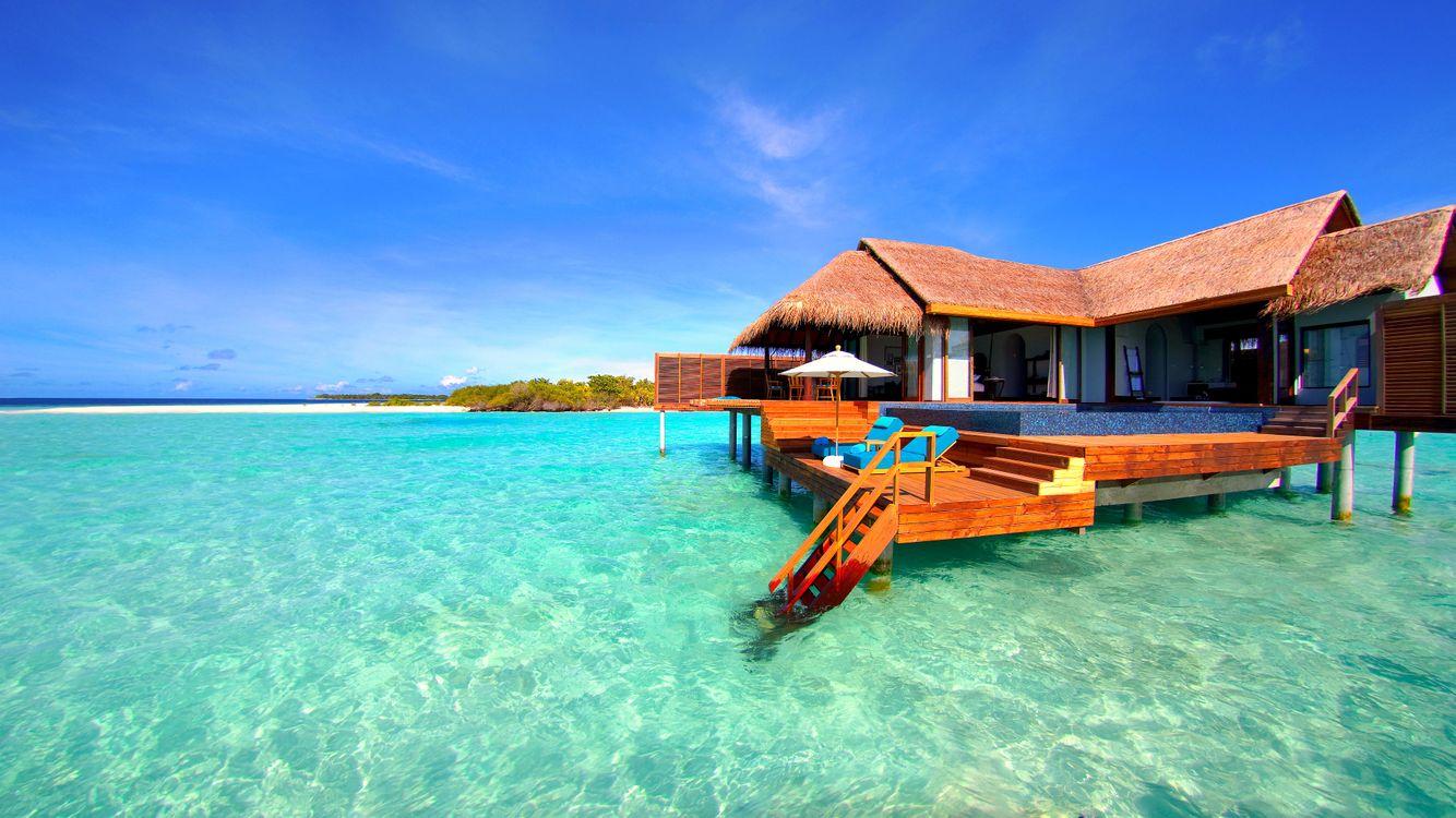 Фото бесплатно Мальдивы, море, остров, бунгало, пейзажи