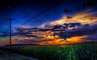 Бесплатные фото небо,тучи,закат,дорога,поле,столбы,провода