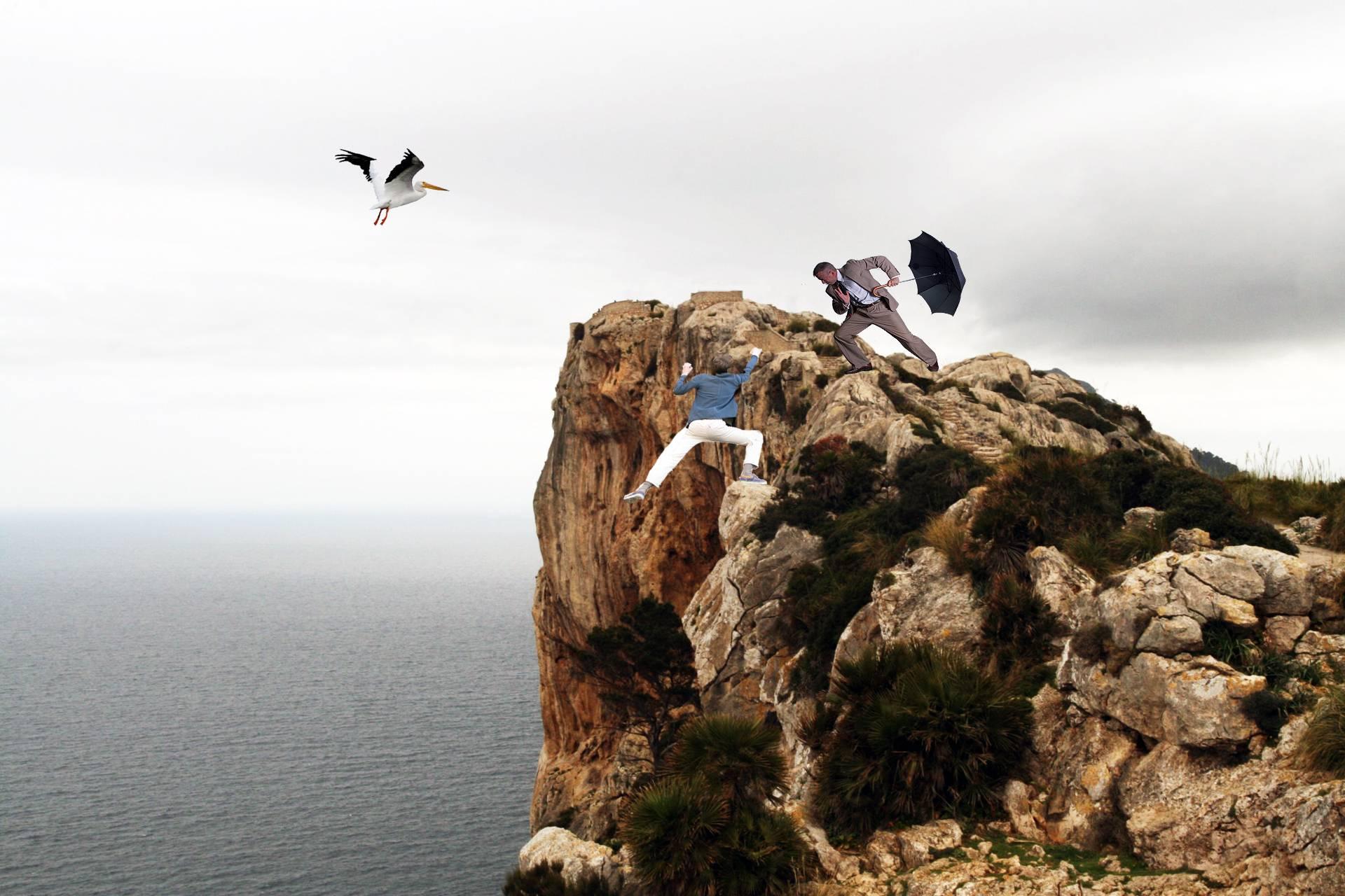 Обои : мужчины, скала, обрыв, пропасть