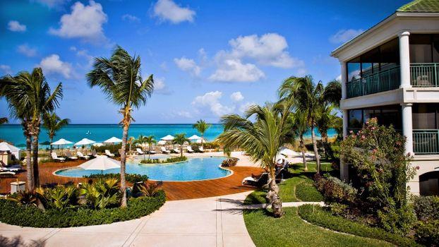 Фото бесплатно курорт, отель, пальмы