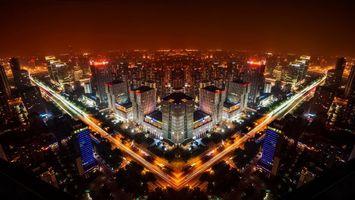 Бесплатные фото ночь,улицы,дома,здания,огни,вид сверху