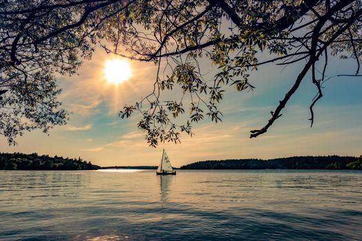 Photo free lake, boat, sailboat