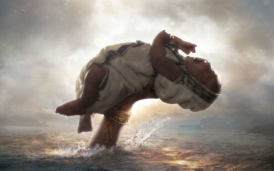 Заставки Бахубали, ребенок, рука из океана