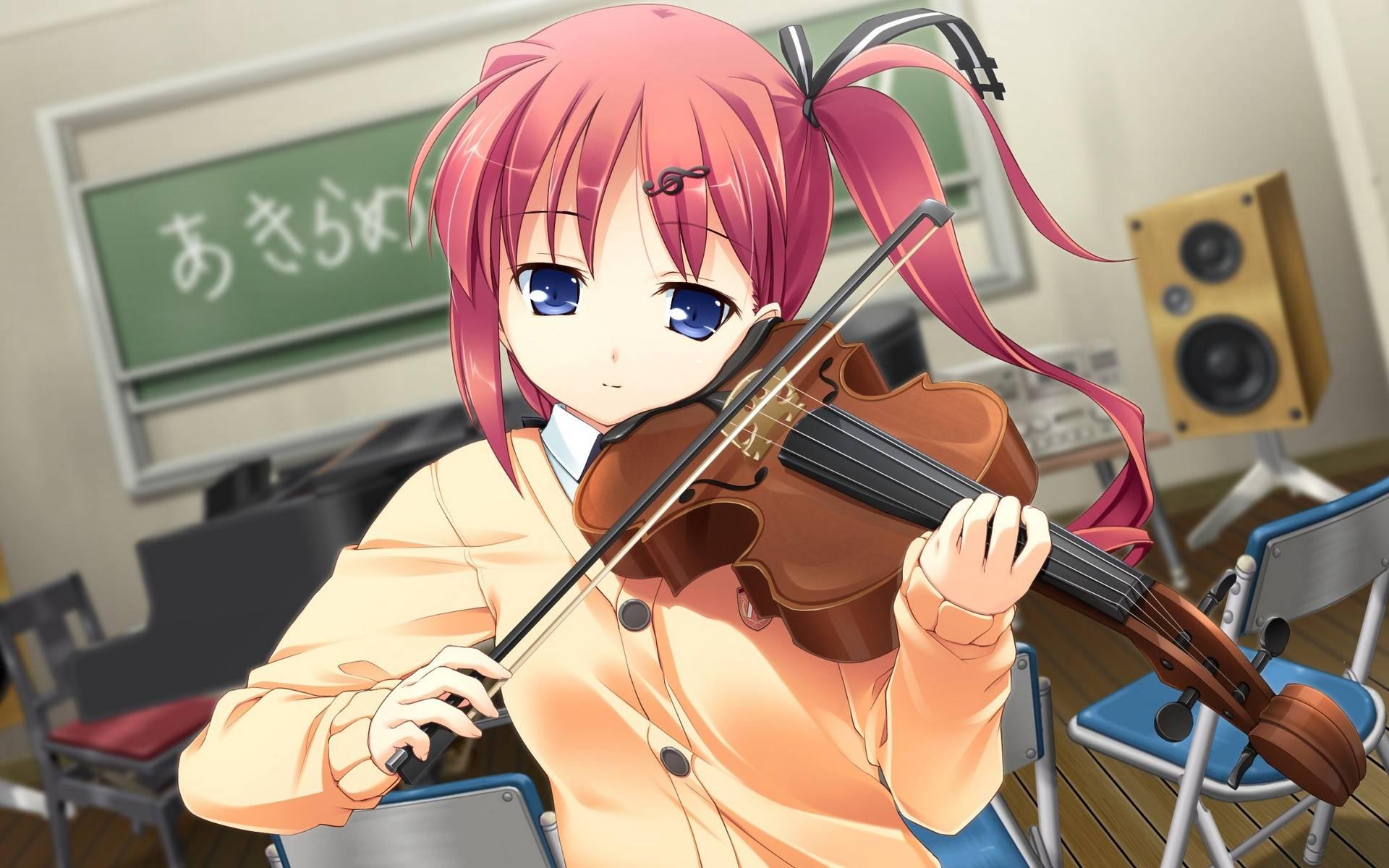 Обои девушка, скрипка, смычок, стулья
