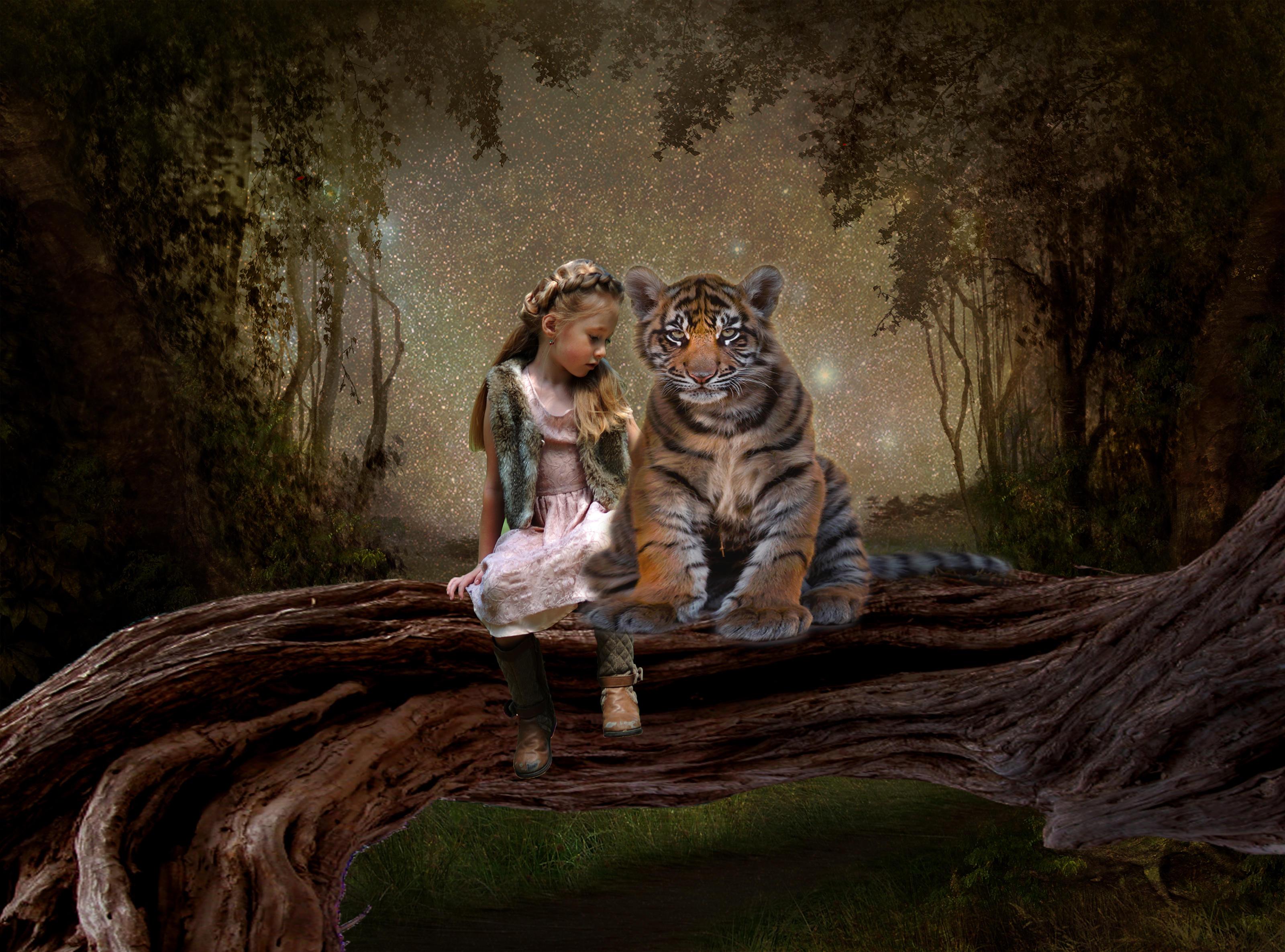 Обои девочка, тигрёнок, art