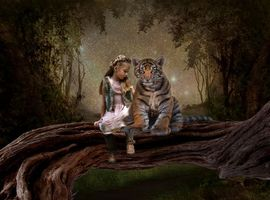 Бесплатные фото девочка,тигрёнок,art
