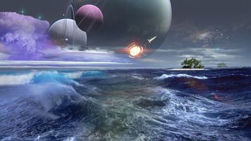 Фото бесплатно звезды, море, астероиды