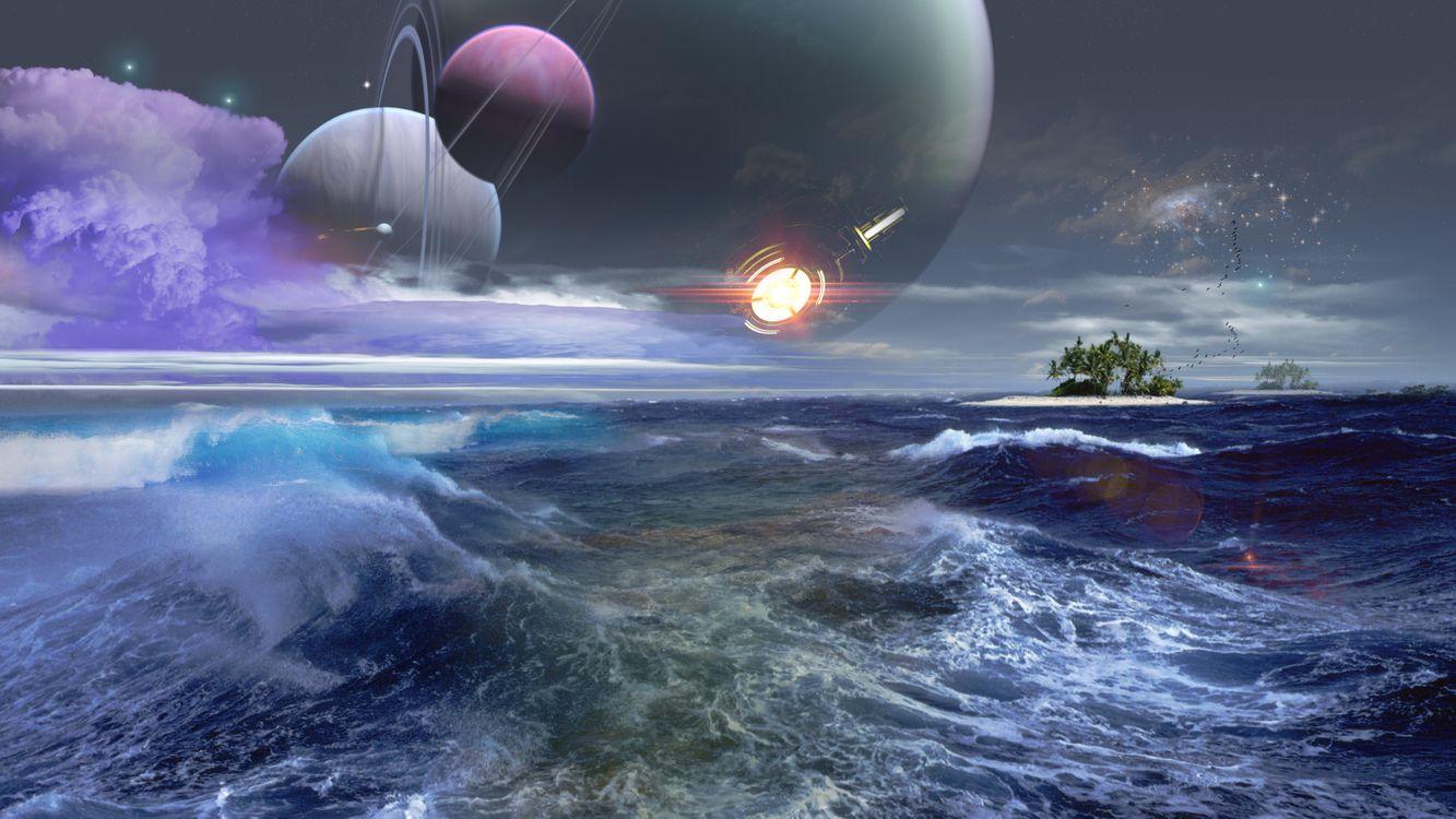 Фото бесплатно космос, вселенная, планеты, звезлы, созвездия, свечение, невесомость, вакуум, галактика, метеориты, астероиды, море, волны, art, космос