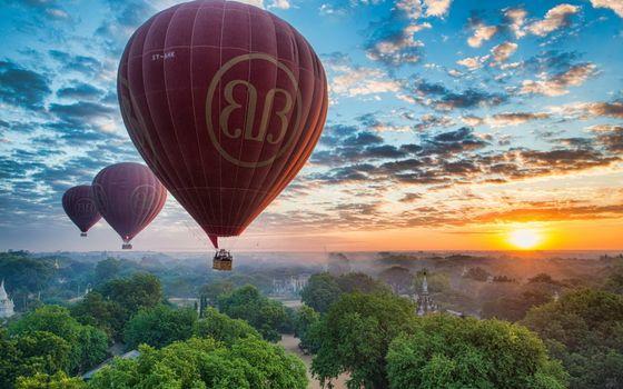 Фото бесплатно облака, парашюты, солнце