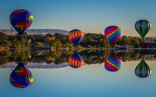 Бесплатные фото воздушные шары,озеро,деревья