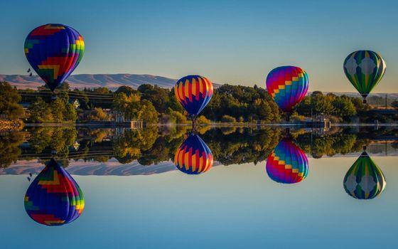 Фото бесплатно воздушные шары, озеро, деревья