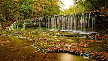 Заставки осень, водопад, лес, деревья, скалы, природа