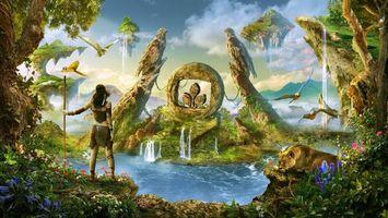 Бесплатные фото райское место,водопады,попугаи,остров,львица,девушка воин,фантастика