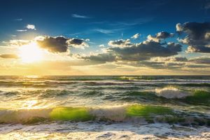 Photo free sunset, sea, waves