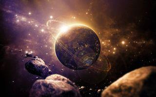 Бесплатные фото космос,планета,кольцо,солнце,метеориты,звезды,свечение