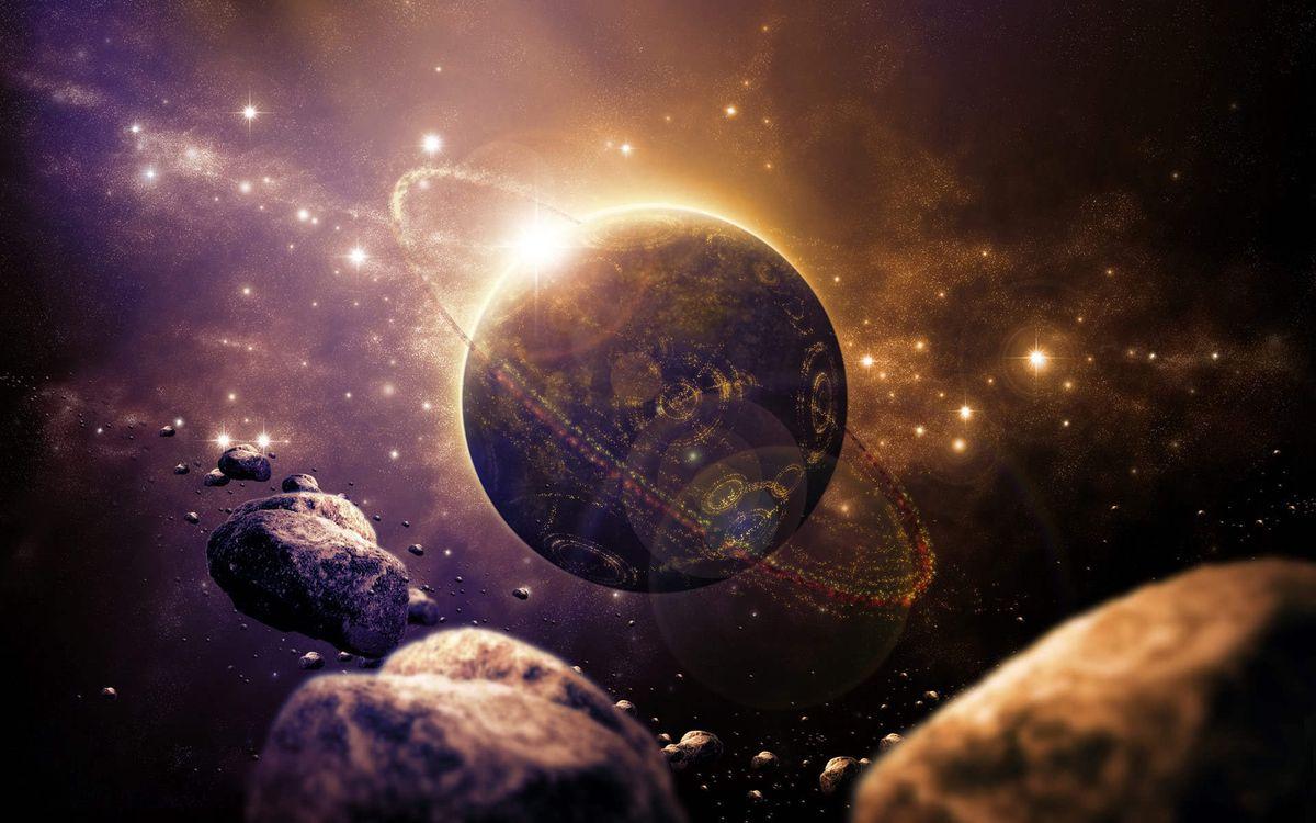 Фото бесплатно космос, планета, кольцо, солнце, метеориты, звезды, свечение, фантастика