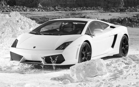 Бесплатные фото ламборджини,спорткар,снег,сугробы,камни,черно-белое