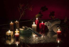 Бесплатные фото свечи, мыло, расчёска, мачалка, натюрморт