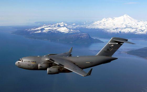 Фото бесплатно военный боинг США, полет, над морем