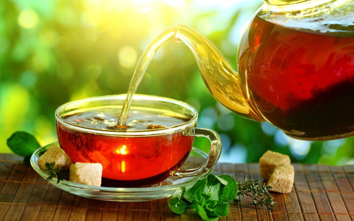 Фото бесплатно чашка, блюдце, чай, чайник, сахар, рафинад, листья, мята, напитки