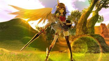 Фото бесплатно девушка, крыло, меч, платье, чулки, деревья, холмы