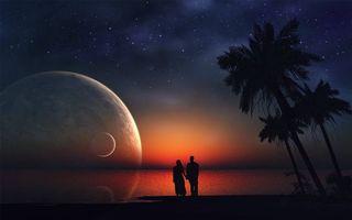 Фото бесплатно фантастическая картина, закат, планеты